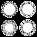 Set of design elements, lace round paper doily, doily to decorate the cake, template for cutting, greeting element Royalty Free Stock Image