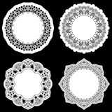 Set of design elements, lace round paper doily, doily to decorate the cake, template for cutting, greeting element Stock Photo