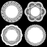 Set of design elements, lace round paper doily, doily to decorate the cake, template for cutting, greeting element Stock Photography