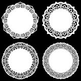 Set of design elements, lace round paper doily, doily to decorate the cake, template for cutting, snowflake, greeting element, met Royalty Free Stock Image
