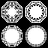 Set of design elements, lace round paper doily, doily to decorate the cake, template for cutting, snowflake, greeting element, met Stock Photos
