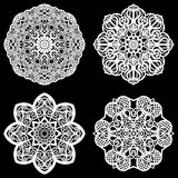 Set of design elements, lace round paper doily, doily to decorate the cake, template for cutting, snowflake, greeting element, met. Al plate cut by laser Stock Image
