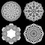 Set of design elements, lace round paper doily, doily to decorate the cake, template for cutting, snowflake, greeting element, met. Al plate cut by laser Royalty Free Stock Photos