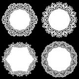 Set of design elements, lace round paper doily, doily to decorate the cake, template for cutting, snowflake, greeting element, met Royalty Free Stock Photo