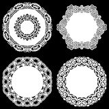 Set of design elements, lace round paper doily, doily to decorate the cake, template for cutting, snowflake, greeting element, met Stock Images
