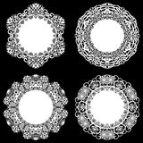 Set of design elements, lace round paper doily, doily to decorate the cake, template for cutting, snowflake, greeting element, met. Al plate cut by laser Royalty Free Stock Image