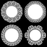 Set of design elements, lace round paper doily, doily to decorate the cake, template for cutting, snowflake, greeting element, met. Al plate cut by laser Royalty Free Stock Images
