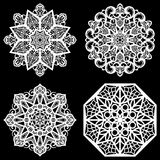 Set of design elements, lace round paper doily, doily to decorate the cake, template for cutting, snowflake, greeting element, met. Al plate cut by laser Stock Photo