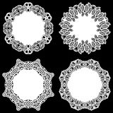 Set of design elements, lace round paper doily, doily to decorate the cake, template for cutting Stock Image