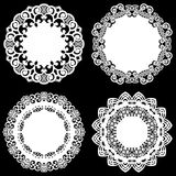 Set of design elements, lace round paper doily, doily to decorate the cake, template for cutting, snowflake, greeting element. Metal plate cut by laser, vector vector illustration