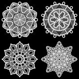 Set of design elements, lace round paper doily, doily to decorate the cake. Doily under the plates, festive doily,  white doily, lacy snowflake, greeting Royalty Free Stock Photos