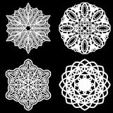 Set of design elements, lace round paper doily, doily. To decorate the cake, doily under the plates, festive doily,  white doily, lacy snowflake, greeting Royalty Free Stock Photos