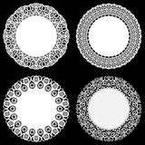 Set of design elements, lace round paper doily, lacy snowflake, greeting element package Stock Images