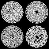 Set of design elements, lace round paper doily, lacy snowflake, greeting element package Stock Image