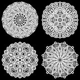 Set of design elements, lace round paper doily Royalty Free Stock Photo