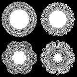 Set of design elements, lace round paper doily, doily to decorate the cake, template for cutting, snowflake, greeting element, met. Al plate cut by laser Royalty Free Stock Photography