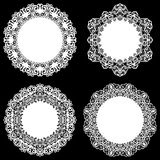 Set of design elements, lace round paper doily, doily to decorate the cake, template for cutting, snowflake, greeting element, met. Al plate cut by laser Stock Images