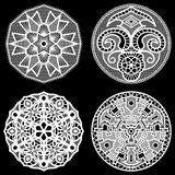 Set of design elements, lace round paper doily. Doily to decorate the cake, doily under the plates, festive doily,  white doily, lacy snowflake, greeting Stock Photos