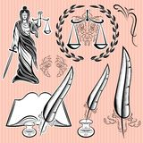 Set of design elements for law Stock Photos