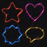 Set of Design Elements Neon Shapes Isolated on Dark Starry Backg royalty free illustration