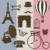 Set of design elements of the old France. Set of design elements and vintage symbols of France Royalty Free Stock Image