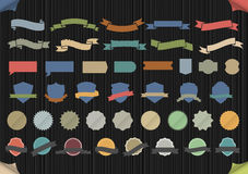 Set of design elements in retro colors. Vector collection Stock Photography