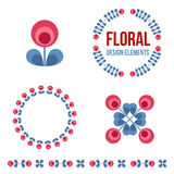 Set of design elements - retro flowers Stock Image