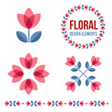 Set of design elements - retro flowers Stock Photos