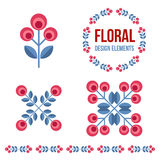 Set of design elements - retro flowers Royalty Free Stock Photo
