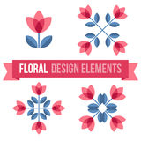 Set of design elements - retro flowers Royalty Free Stock Photography