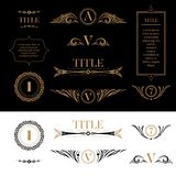 Set of design elements in retro vintage style. Golden floral ornamental detailes, frames, wreaths for placing logo, text or title. For card, document, charter Royalty Free Stock Images