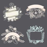 Set of design elements with ribbons, labels and Stock Photos