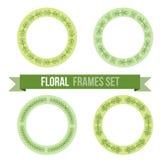 Set of design elements - round floral frames Stock Images
