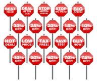 Set of design elements for sale. Set of stop signs as design elements for sale Vector Illustration