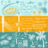 Set of design elements on the subject of travel and tourism. Han. D-drawn silhouettes. Beach vacation in the tropics, flight. Images for advertising banners Stock Photos