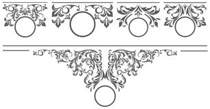 Set of design elements for the tittle page. Stylish set of floral elements for your vintage designs Stock Images