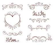Set design elements for Valentine days and Wedding Royalty Free Stock Photography