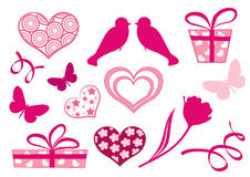 Set design elements of valentine`s day. Royalty Free Stock Photos