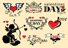 Set of design elements of Valentine's Day Stock Photos