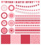 Set of design elements for Valentines Day or Stock Image