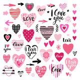 Set of design elements for Valentines day. Wedding collection. Handwritten lettering. Vector illustration. Stock Photo
