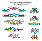 Set of design elements with vegetative ornament Stock Images