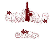 Set design elements - vine and a wine bottle Stock Images
