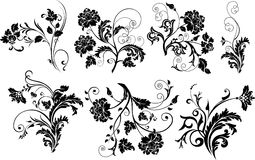Set of design floral elements. Stock Photo