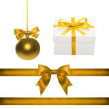 Set for design. Gold Christmas ball, ribbon, bow, gift box Royalty Free Stock Photography