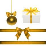 Set for design. Gold Christmas ball, ribbon, bow, gift box Royalty Free Stock Photography