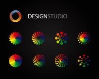 Set of design graphic logo elements. Set of design graphic color logo elements Stock Photo