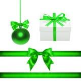 Set for design. Green Christmas ball, ribbon, bow, gift box Stock Images