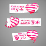 Set design of horizontal banners, emblems, badges with the decor of pink striped 3d hearts. Good for Valentine's Day Royalty Free Stock Photos