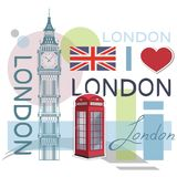 Set for design on London. Great Britain flag. Big Ben Tower. London phone booth. Vector graphics to design stock illustration